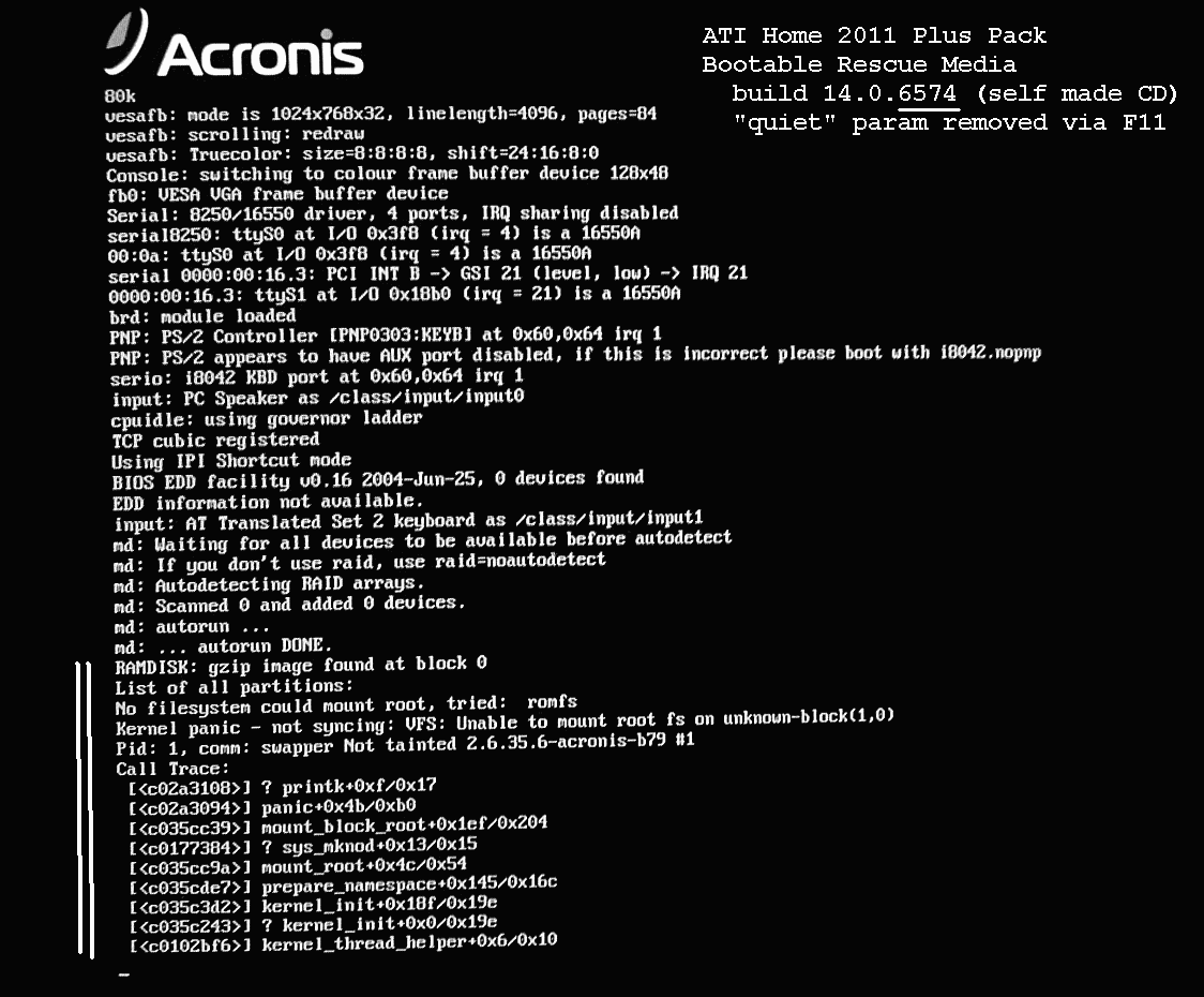 SOLVED] ATI 2011 - bootable rescue media - kernel panic not