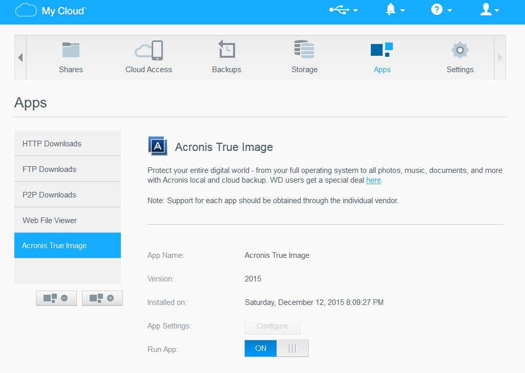 Acronis True Image on WD MyCloud EX2  What's the point and how to