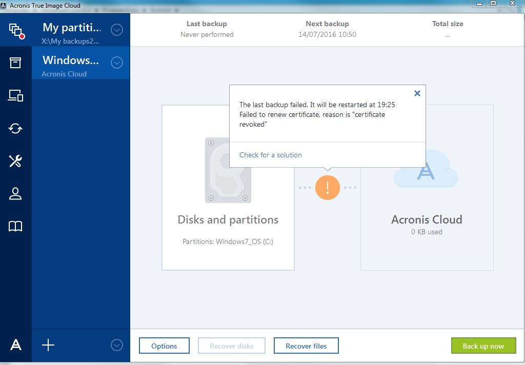 Cannot backup to cloud becuase certificate revoked   Acronis Forum