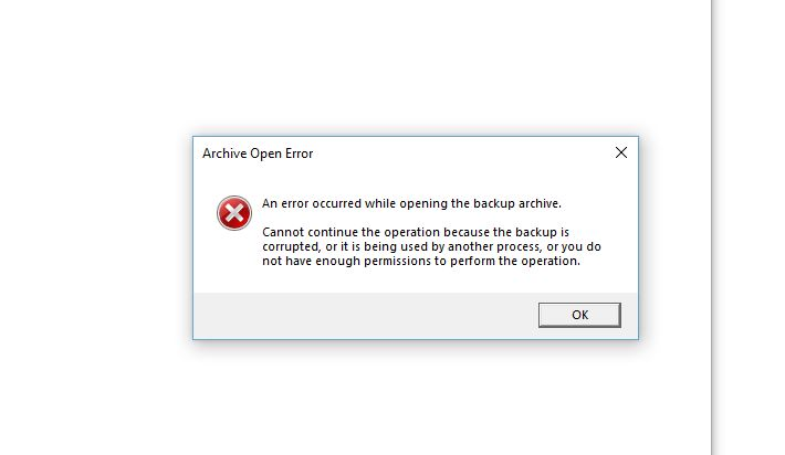 Error Message When Trying To Recover Backup From Acronis