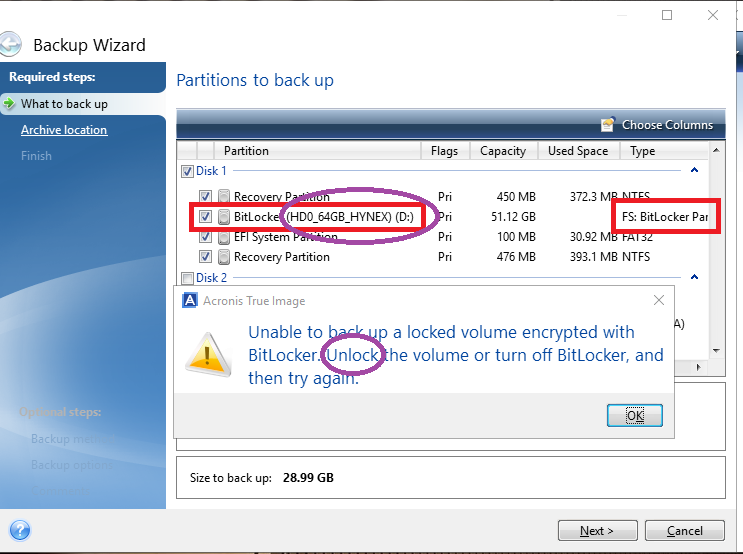 WinRE / WinPE rescue media with bitlocker support can't backup an