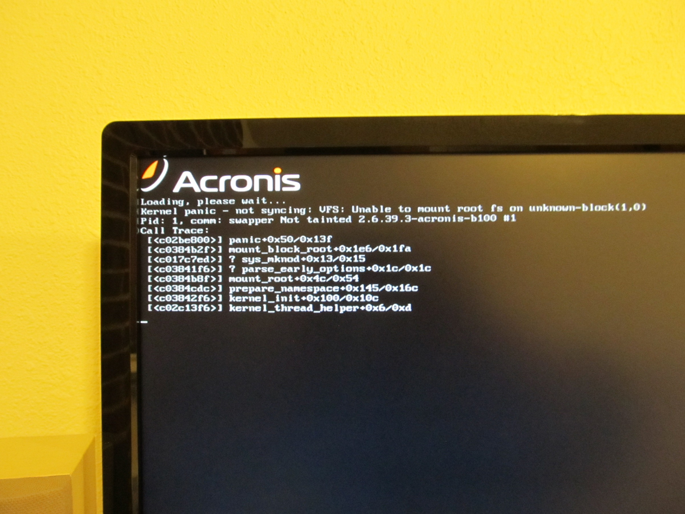 Unable to Clone  Kernel panic - not syncing | Acronis Forum