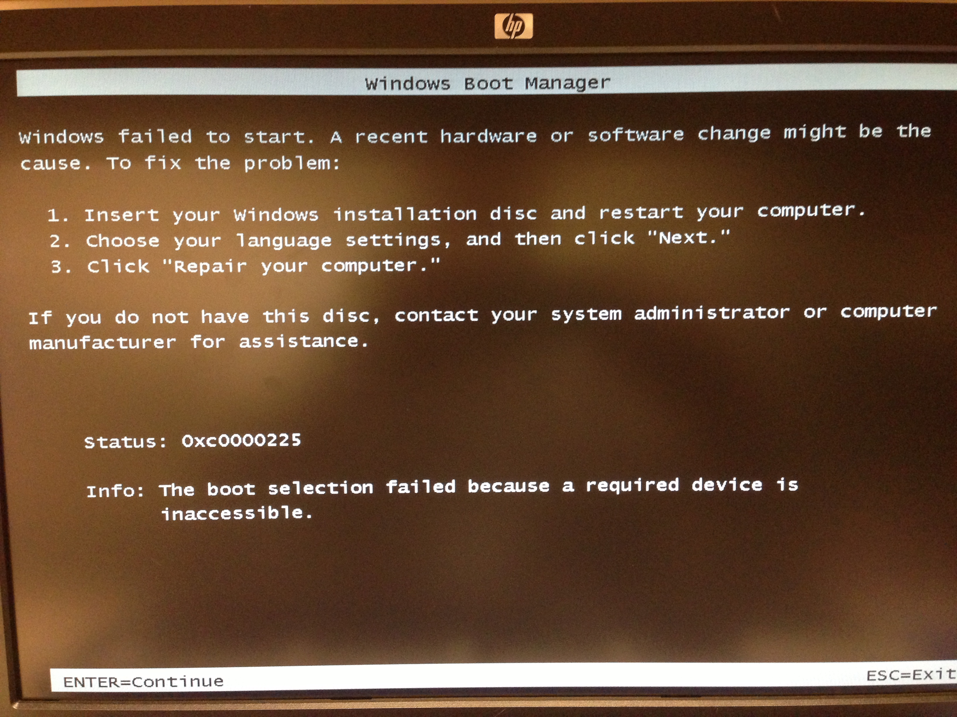 RESOLVED] 0xc0000225 - Boot selection failed | Acronis Forum