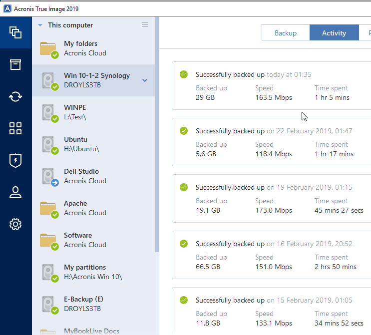 Acronis 2019 backup speed 100x slower over wireless