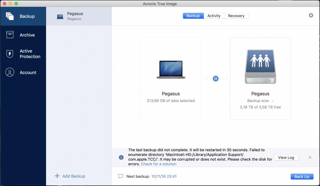Acronis True Image 2018 fails to backup MacBook Pro with