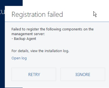 Cannot Install Acronis Backup 12 5, Registration Failed for